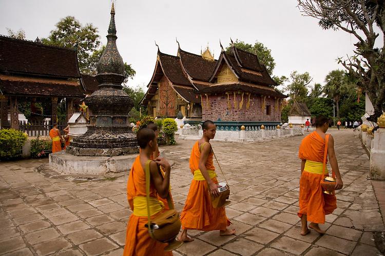 Buddhist Monks at Pagoda grounds at Luang Prabang,Laos