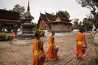 Buddhist Monks at Pagoda grounds at Luang Prabang,Laos