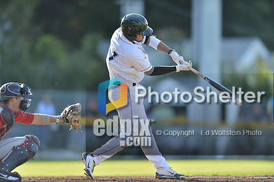 18 August 2012: Vermont Lake Monsters infielder Wilfredo Solano at bat against the Brooklyn Cyclones at Centennial Field in Burlington, Vermont. The Lake Monsters defeated the Cyclones 4-1 in NY Penn League action. Mandatory Credit: Ed Wolfstein Photo