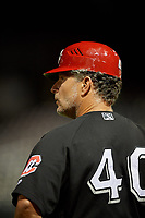 Chattanooga Lookouts coach Darren Bragg (40) during a Southern League game against the Birmingham Barons on May 1, 2019 at Regions Field in Birmingham, Alabama.  Chattanooga defeated Birmingham 5-0.  (Mike Janes/Four Seam Images)
