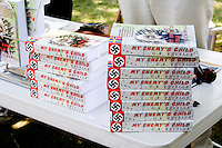 Author G. R. Revelle sells book My Enemy's Child. Svenskarnas Dag Swedish Heritage Day Minnehaha Park Minneapolis Minnesota USA
