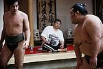 Tokyo, April 26 2013 - Coach Dairy? Tadahiro watching the training at Otakebeya sumo stable.