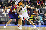Euroleague el FC Barcelona guanya 83 -82 al Panathinaikos en el primer partit del playoff. Diamantidis defensat per Ricky