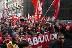 Thousands of workers taking part in a International Workers' Day demonstration march through the streets of Madrid city.1 May 2012. (Alterphotos/Alconada)