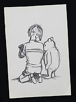 BNPS.co.uk (01202 558833)<br /> Pic: EwbanksAuctioneers/BNPS<br /> <br /> Never-before-seen sketches of Winnie the Pooh by illustrator EH Shepard have come to light after spending 60 years hidden under a bed.<br /> <br /> The 1959 drawings were gifted by Shepard to Tina Thornber who was a hairdresser for his second wife Nora at the time.<br /> <br /> Mrs Thornber didn't realise who the artist was but kept hold of the two drawings.<br /> <br /> They have been stored under her bed in a box with a number of other items but have now been listed for sale for the first time.<br /> <br /> They are going under the hammer with Ewbanks Auctioneers of Surrey for £3,000 each.