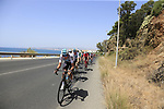 The peloton led by Team Sky in full flight after the start of Stage 4 of the La Vuelta 2018, running 162km from Velez-Malaga to Alfacar, Sierra de la Alfaguara, Andalucia, Spain. 28th August 2018.<br /> Picture: Eoin Clarke   Cyclefile<br /> <br /> <br /> All photos usage must carry mandatory copyright credit (&copy; Cyclefile   Eoin Clarke)