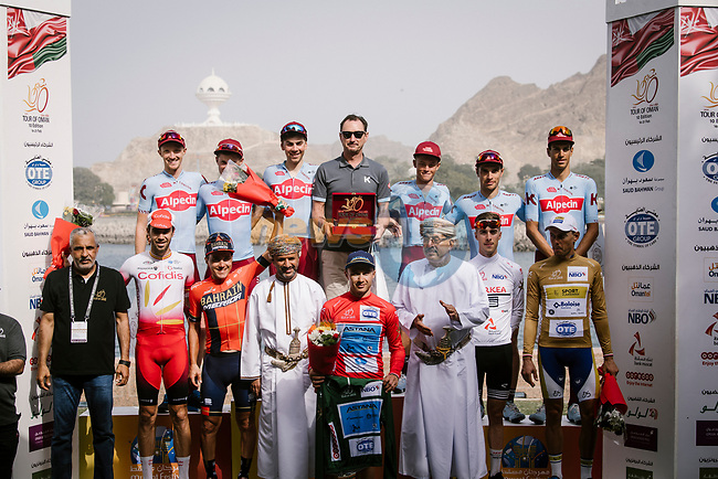 The final podium 1st overall Alexey Lutsenko (KAZ) Astana Pro Team, Domenico Pozzovivo (ITA) Bahrain-Merida finishes 2nd overall and Jesus Herrada (ESP) Cofidis 3rd with Team Katusha Alpecin team winners after Stage 6 of the 10th Tour of Oman 2019, running 135.5km from Al Mouj Muscat to Matrah Corniche, Oman. 21st February 2019.<br /> Picture: ASO/P. Ballet | Cyclefile<br /> All photos usage must carry mandatory copyright credit (© Cyclefile | ASO/P. Ballet)