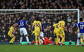 17th March 2019, Goodison Park, Liverpool, England; EPL Premier League Football, Everton versus Chelsea; Richarlison of Evertonscores the opening goal, beating Chelsea goalkeeper Kepa Arrizabalaga with a header after  49 minutes