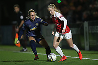 Beth Mead of Arsenal and Kirsty Smith of Manchester Utd during Arsenal Women vs Manchester United Women, FA WSL Continental Tyres Cup Football at Meadow Park on 7th February 2019
