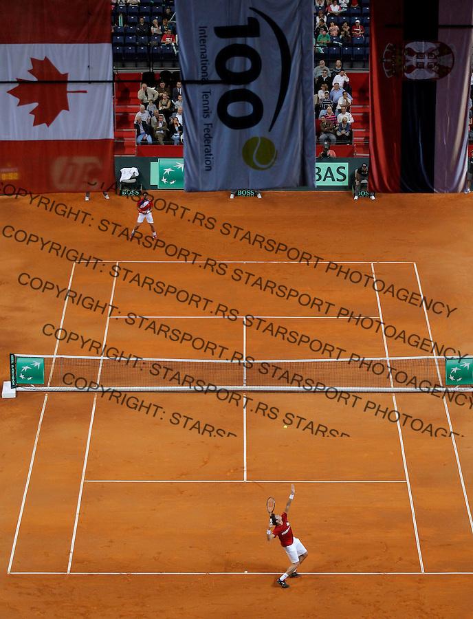 Tennis Tenis<br /> Davis Cup semifinal polufinale<br /> Serbia v Canada<br /> Janko Tipsarevic v Milos Raonic<br /> General overview of Belgrade (Kombank) Arena <br /> Beograd, 13.09.2013.<br /> foto: Srdjan Stevanovic/Starsportphoto &copy;