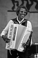 Buckwheat Zydeco performing on the main Acura Stage at the New Orleans Jazz and Heritage Festival at the Fairgrounds Race Course on May 5, 2007 in New Orleans, Louisiana. USA.