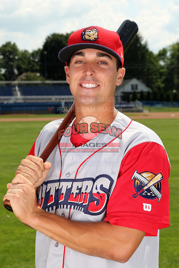 Williamsport Crosscutters infielder Jeff Cusick (39) poses for a photo before a game vs the Batavia Muckdogs at Dwyer Stadium in Batavia, New York July 26, 2010.   Batavia defeated Williamsport 3-2.  Photo By Mike Janes/Four Seam Images