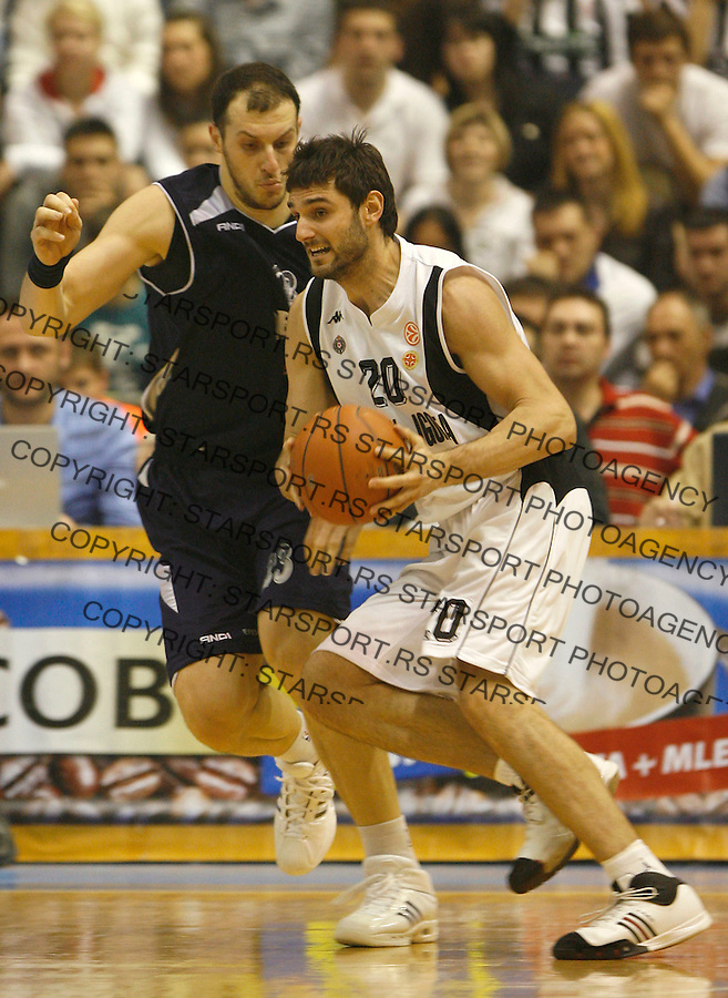 Kosarka.Partizan Vs. Efes Pilsen, Istanbul, Turkey.Petar Bozic, right and Ermal Kuqo.Beograd, 02.28.2008..foto: Srdjan Stevanovic