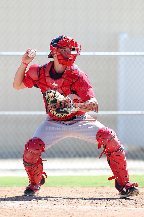 Boston Red Sox catcher Blake Swihart #22 during an intrasquad Instructional League game at Red Sox Minor League Training Complex in Fort Myers, Florida;  October 4, 2011.  (Mike Janes/Four Seam Images)
