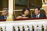 UNGARN, 10.05.2018, Budapest V. Bezirk. Eroeffnungssitzung des neuen Parlaments (4. Kabinett Orb&aacute;n). Unter den VIP-Gaesten Oligarch L&ouml;rinc M&eacute;sz&aacute;ros mit seine Frau Beatrix. | Opening session of the new parliament (4th Orban cabinet). Among the VIP guests oligarch Lorinc Meszaros with his wife Beatrix.<br /> &copy; Szilard Voros/estost.net