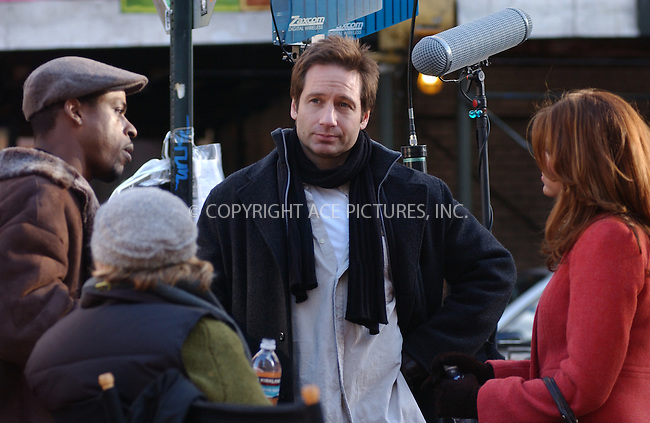 WWW.ACEPIXS.COM . . . . . ....NEW YORK, DECEMBER 8, 2004....Eva Mendes and David Duchovny on the set of 'Trust the Man.'....Please byline: ACE006 - ACE PICTURES.. . . . . . ..Ace Pictures, Inc:  ..Alecsey Boldeskul (646) 267-6913 ..Philip Vaughan (646) 769-0430..e-mail: info@acepixs.com..web: http://www.acepixs.com