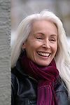 Beautiful white haired woman smiling