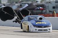 Apr. 26, 2013; Baytown, TX, USA: NHRA pro stock driver Rodger Brogdon during qualifying for the Spring Nationals at Royal Purple Raceway. Mandatory Credit: Mark J. Rebilas-
