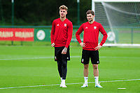 Joe Rodon and Ben Davies of Wales during the Wales Training Session at The Vale Resort in Cardiff, Wales, UK. Monday 07 October 2019