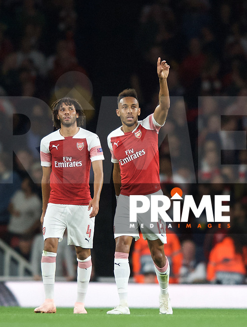 Pierre-Emerick Aubameyang of Arsenal celebrates scoring a goal to make it 1-0  during the UEFA Europa League match group between Arsenal and Vorskla Poltava at the Emirates Stadium, London, England on 20 September 2018. Photo by Andrew Aleksiejczuk / PRiME Media Images.