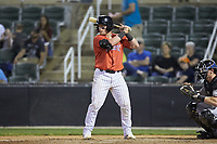 Evan Skoug (9) of the Piedmont Boll Weevils at bat against the Hickory Crawdads at Kannapolis Intimidators Stadium on May 3, 2019 in Kannapolis, North Carolina. The Boll Weevils defeated the Crawdads 4-3. (Brian Westerholt/Four Seam Images)