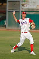 Stockton Ports pitcher Casey Meisner (20) throwing in the outfield before a game against the Visalia Rawhide at Banner Island Ballpark on August 15, 2015 in Stockton, California. Visalia defeated Stockton 9-1. (Robert Gurganus/Four Seam Images)