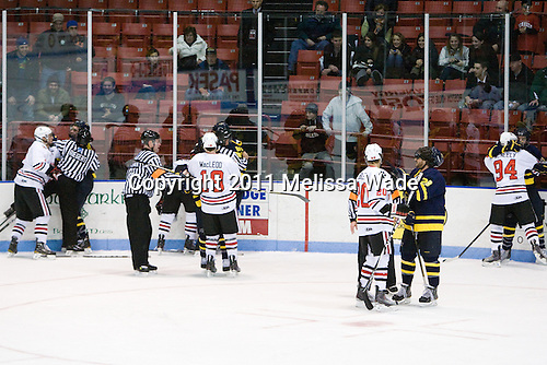 - The visiting Merrimack College Warriors defeated the Northeastern University Huskies 4-3 (OT) on Friday, February 4, 2011, at Matthews Arena in Boston, Massachusetts.