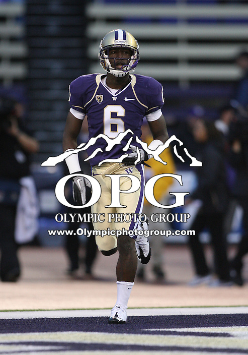Oct 09, 20010:  Washington cornerback #6 Desmond Trufant runs onto the field before the game against Arizona State.   Arizona State defeated Washington 24-14 at Husky Stadium in Seattle, Washington...