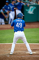 Matt Cogen (49) of the Ogden Raptors bats during a game against the Idaho Falls Chukars at Lindquist Field on August 29, 2018 in Ogden, Utah. Idaho Falls defeated Ogden 15-6. (Stephen Smith/Four Seam Images)