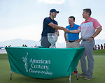 Tony Romo shakes hands with American Century CEO Johathan Thomas after winning the American Century Championship at Edgewood Tahoe Golf Course in Stateline, Nevada, Sunday, July 15, 2018.