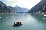 Alaska, Cruising the Southeast wilderness waterways on the Spirit of Discovery.  Endicott Arm and Dawes Glacier, scenery, glacier and cruise ship, exploring with durable inflatable boats. .Photo copyright Lee Foster, 510/549-2202, lee@fostertravel.com, www.fostertravel.com..