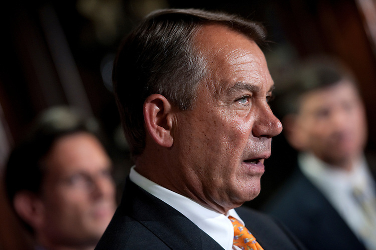 "UNITED STATES - AUGUST 1: House Speaker John Boehner, R-Ohio, speaks to the press after the Republican Conference meeting. Boehner attacking President Obama's handling of the economy, and for  ""trying to raise taxes on small businesses."" (Photo By Chris Maddaloni/CQ Roll Call)"
