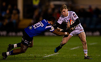Gloucester's Dom Coetzer evades the tackle of Bath Rugby's Semesa Rokoduguni<br /> <br /> Photographer Bob Bradford/CameraSport<br /> <br /> Gallagher Premiership - Bath Rugby v Gloucester Rugby - Monday 4th February 2019 - The Recreation Ground - Bath<br /> <br /> World Copyright © 2019 CameraSport. All rights reserved. 43 Linden Ave. Countesthorpe. Leicester. England. LE8 5PG - Tel: +44 (0) 116 277 4147 - admin@camerasport.com - www.camerasport.com