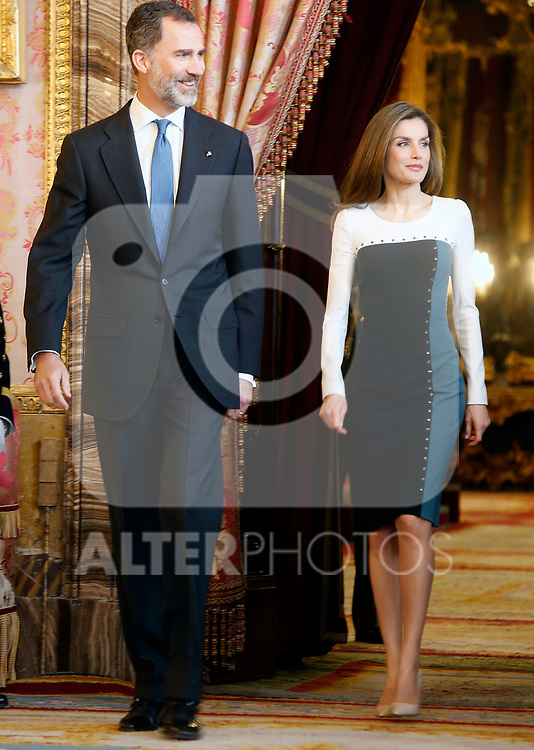 King Felipe VI of Spain (l) and Queen Letizia of Spain attend an official lunch for 'Miguel de Cervantes 2016' Literature award at the Royal Palace. April 19 ,2017. (ALTERPHOTOS/Pool)