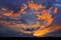 CLouds at sunset over the Candian prairie, Val Marie, Saskatchewan, Canada