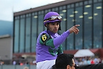 HOT SPRINGS, AR - APRIL 14: Jockey Luis Saez after winning the Arkansas Derby at Oaklawn Park on April 14, 2018 in Hot Springs, Arkansas. (Photo by Justin Manning/Eclipse Sportswire/Getty Images)