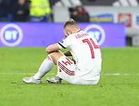 19th November 2019; Cardiff City Stadium, Cardiff, Glamorgan, Wales; European Championships 2020 Qualifiers, Wales versus Hungary; A dejected Gergo Lovrencsics of Hungary after his team fail to qualify for Euro 2020 after the 2-0 loss to Wales - Editorial Use