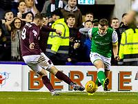 3rd March 2020; Easter Road, Edinburgh, Scotland; Scottish Premiership Football, Hibernian versus Heart of Midlothian; Conor Washington of Hearts scores Hearts third goal