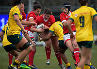 DeLeaka Menin is tackled during the 2017 International Women's Rugby Series rugby match between Canada and Australia Wallaroos at Smallbone Park in Rotorua, New Zealand on Saturday, 17 June 2017. Photo: Dave Lintott / lintottphoto.co.nz