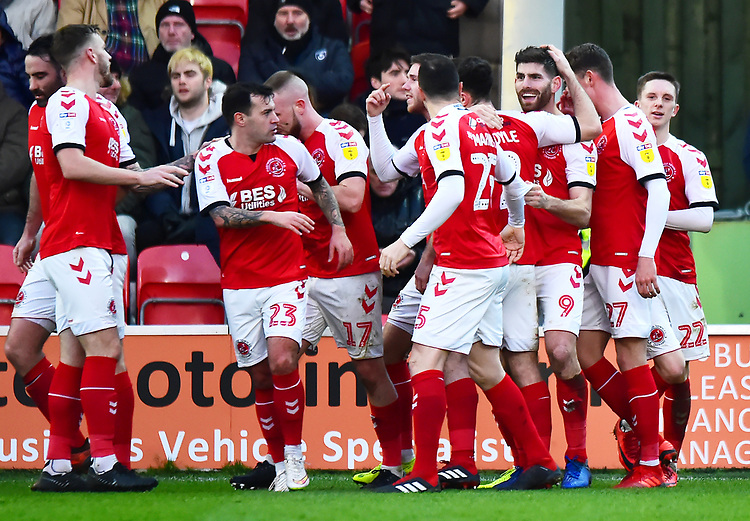 Fleetwood Town's Ched Evans celebrates scoring his side's second goal <br /> <br /> Photographer Richard Martin-Roberts/CameraSport<br /> <br /> The EFL Sky Bet League One - Fleetwood Town v Portsmouth - Saturday 29th December 2018 - Highbury Stadium - Fleetwood<br /> <br /> World Copyright © 2018 CameraSport. All rights reserved. 43 Linden Ave. Countesthorpe. Leicester. England. LE8 5PG - Tel: +44 (0) 116 277 4147 - admin@camerasport.com - www.camerasport.com