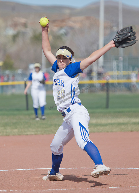 Reed's Julia Jensen pitches against Hug during their softball game on Saturday, March 21, 2015 at Reed High School in Sparks, NV.