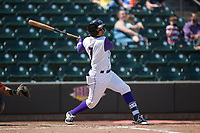 Ronald Bueno (7) of the Winston-Salem Dash follows through on his swing against the Buies Creek Astros at BB&T Ballpark on April 16, 2017 in Winston-Salem, North Carolina.  The Dash defeated the Astros 6-2.  (Brian Westerholt/Four Seam Images)
