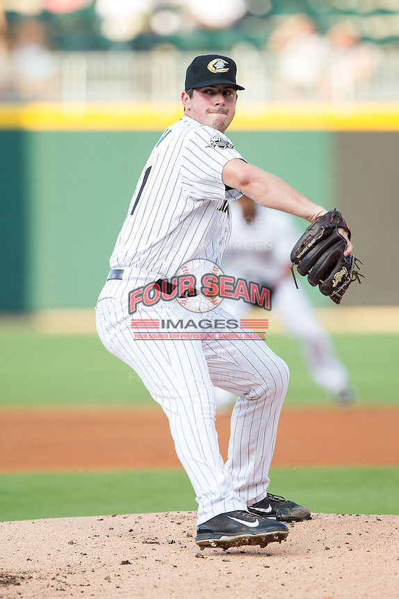 Charlotte Knights starting pitcher Carlos Rodon (41) in action against the Gwinnett Braves at BB&T Ballpark on August 19, 2014 in Charlotte, North Carolina.  The Braves defeated the Knights 10-5.   (Brian Westerholt/Four Seam Images)