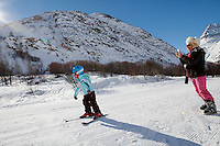 A young skier on the slopes at Bonneval sur Arc, Savoie, France, 17 February 2012.
