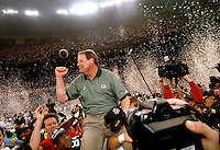 Green Bay Packers Coach Mike Holmgren is carried off the field after the Packers defeated the New England Patriots 35-21 in Super Bowl XXXI in the Superdome in New Orleans on January 26, 1997.