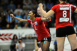 Rüsselsheim, Germany, April 13: Cristina Alves Oliveira Ferreira #1 of the Rote Raben Vilsbiburg celebrates after winning the play off Game 1 in the best of three series in the semifinal of the DVL (Deutsche Volleyball-Bundesliga Damen) season 2013/2014 between the VC Wiesbaden and the Rote Raben Vilsbiburg on April 13, 2014 at Grosssporthalle in Rüsselsheim, Germany. Final score 0:3 (Photo by Dirk Markgraf / www.265-images.com) *** Local caption ***