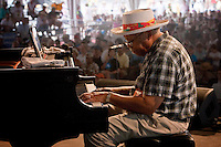 Jazz pianist, composer and educator Ellis Marsalis performs on the WWOZ Jazz Tent stage on the last day at the New Orleans Jazz and Heritage Festival at the New Orleans Fair Grounds Race Course in New Orleans, Louisiana, USA, 3 May 2009.