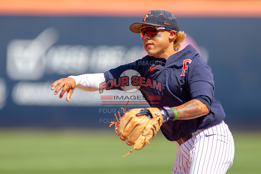 Cal State Fullerton Titans Hank LoForte (9) during pre-game warm-ups at Goodwin Field on June 08, 2018 in Fullerton, California. The University of Washington Huskies defeated the Cal State Fullerton Titans 8-5. (Donn Parris/Four Seam Images)