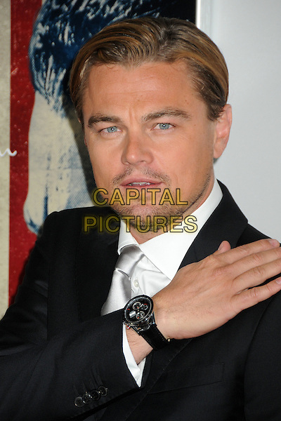 "Leonardo DiCaprio.AFI Fest 2011 Opening Night Gala Premiere of ""J. Edgar"" held at Grauman's Chinese Theatre, Hollywood, California, USA..November 3rd, 2011.headshot portrait stubble facial hair black suit white shirt silver tie hand watch.CAP/ADM/BP.©Byron Purvis/AdMedia/Capital Pictures."