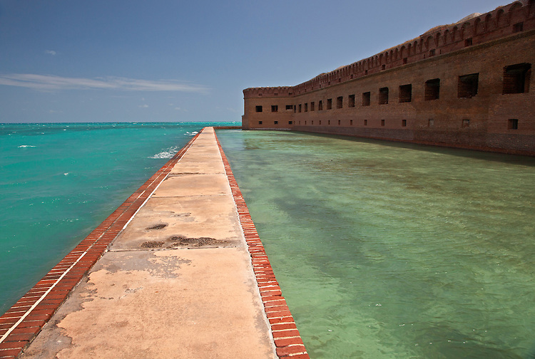 The walkway and moat around Fort Jefferson on Garden Key in Dry Tortugas National Park, Florida